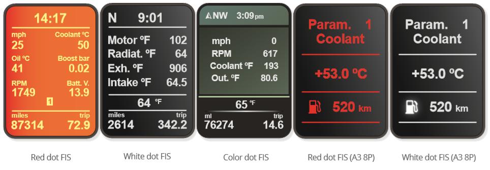 Suivant le type d'écran dont vous disposez, voici les différents affichages possibles sur votre véhicule avec notre POLARFIS